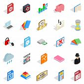 Type Icons Set. Isometric Set Of 25 Type Icons For Web Isolated On White Background poster