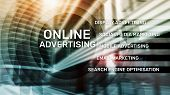 Online Advertising, Digital Marketing. Business And Finance Concept On Virtual Screen. poster