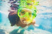 Snorkel water sport activity young Asian woman swimming underwater with snorkeling mask on Caribbean poster