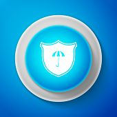 Waterproof Icon Isolated On Blue Background. Shield And Umbrella. Water Protection Sign. Water Resis poster