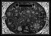 Antique Atlas Map Of Fantasy World With Victorian Frame, Nautical Compass On Black. Hand Drawn Graph poster