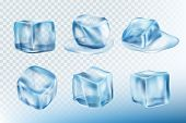 Ice Cubes Realistic. Puddles Smudges And Splashes Of Freeze Water Vector Pictures Collection. Freeze poster