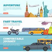 Travel Banners. Globe Adventure Transport Travellers Landmarks London Paris New York Russia Comforta poster