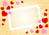 Empty White Frame And Red Pink Heart Shape For Template Banner Valentines Card Background, Many Hear poster