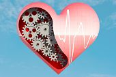stock photo of dimentional  - Heart chart with love shape to created by three dimention program - JPG