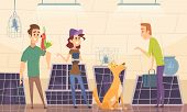 Animal Shelter. Owners Choose Puppy Dog In Cage Vector Cartoon Background. Animal Nursery, Kitty And poster