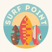Surfing Poster. Surfboards On The Beach. Vector Illustration. Retro Design. Emblem For Surfing Club, poster