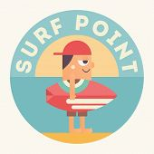 Surfing Poster. Funny Cartoon Surfer With Surfboard Under Text Surf Point. Vector Illustration. Retr poster