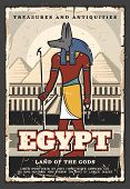 Egypt Travel And Tourist Landmark Tours Vintage Poster. Vector Travel Agency Trips, Ancient Egyptian poster