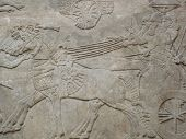 picture of babylonia  - Ancient Assyrian wall carvings of men and horses - JPG