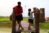 Two Young Girls Are Exploring A Cultural Study Tour Observing On Wooden Bridge Over The Irrigation C poster