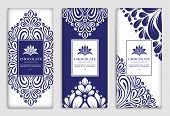 Blue Luxury Packaging Design Of Chocolate Bars. Vintage Vector Ornament Template. Elegant, Classic E poster