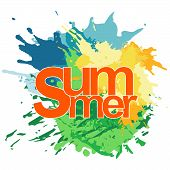 Summer Vibes Calligraphy Vacation Sunburst Quote Phrase Greeting Vector Illustration Lettering Sunsh poster