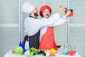 Vegetarian. Cook Uniform. Man And Woman Chef In Restaurant. Family Cooking In Kitchen. Dieting Vitam poster