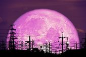 Super Milk Moon Back On Silhouette Electric Pole On Night Sky poster