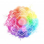 Round Gradient Mandala On White Isolated Background. Mandala Over Colorful Watercolor poster