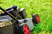 Lawn Mower, Mowing Green Grass, Lawn Care. poster