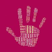 Постер, плакат: Знак стоп насилия в отношении женщин в Word коллаж