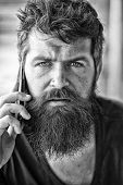 Hipster Bearded Communicate Smartphone Call. Mobile Communication. Communication Concept. Man With B poster