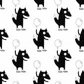 Cute Cartoon Spring Fox Background With Happy Fox Holding A Balloon. Sweet Vector Black And White Sp poster