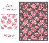 Vector Leaf Pattern. Jungle Tropic Plant. Monstera In Vibrant Coral Design. Tropic Plant Foliage. Se poster