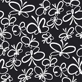 Butterflies Hand Drawn Vector Seamless Pattern. White Outline Exotic Bugs On Black Background. Tropi poster