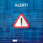 Attention Warning Attacker Alert Sign With Exclamation Mark. Beware Alertness Of Internet Danger Sym poster