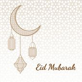 Eid Mubarak Greeting Card. Eid Mubarak Islamic Greeting Background With Moon And Arabic Lantern. poster