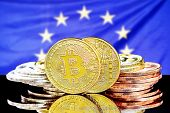 Bitcoins On The Background Of The European Union Flag. Concept For Investors In Cryptocurrency And B poster