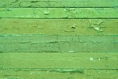 Old Shabby, Peeling Bright Green Paint On A Wooden Wall. Colorful Background, Texture. poster