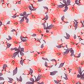 Seamless Background With Floral Pattern. Pink Blooming Branches With Leaves. Flowering Cherry / Appl poster