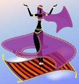 picture of seminude  - oriental girl dancing in the sky on a flying carpet - JPG