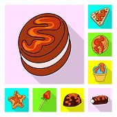 Vector Design Of Confectionery And Culinary Icon. Collection Of Confectionery And Colorful Vector Ic poster