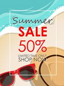 Summer Sale Template Banner With Beach Accessories Background. Vector Summer Sale Background For Ban poster