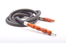picture of shisha  - flexible tube of a hookah on white background with soft shadow  - JPG