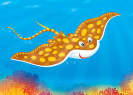 stock photo of devilfish  - Illustration of a spotted ray swimming over a colorful coral reef at the bottom of a tropical sea - JPG