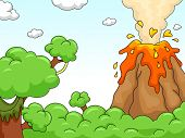 Illustration of a Volcano Eruption Scene