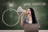 Businesswoman Announce To Work Smarter In 2013