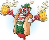 picture of lederhosen  - A hotdog bratwurst cartoon character wearing traditional bavarian lederhosen and drinking a large mug of beer - JPG