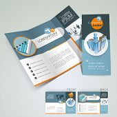 Professional business three fold flyer template, corporate brochure or cover design in blue color, c