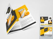 Professional business three fold flyer template, corporate brochure or cover design in yellow and bl