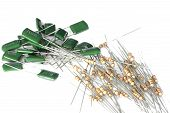 stock photo of ohm  - Resistors and capacitors for a printed circuit board on white background - JPG