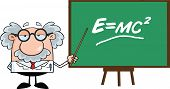 Funny Scientist Or Professor With Pointer Presenting Einstein Formula poster