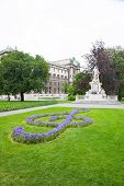 stock photo of mozart  - Mozart Monument in Maria Theresien square Vienna Austria - JPG
