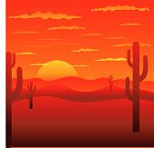 foto of peyote  - Background with American landscape with red sunset - JPG