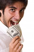 stock photo of buck teeth  - mouth with braces on the teeth eating money  - JPG