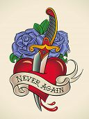 Old-school styled tattoo of a dagger through heart with blue roses on the background. Editable vecto
