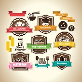 stock photo of food label  - Collection of vintage retro grunge food - JPG