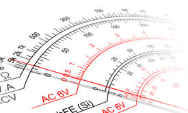 foto of ohm  - Abstract view of Analog multimeter scale with amps - JPG