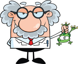 pic of mad scientist  - Smiling Mad Scientist Or Professor Holding A Frog - JPG